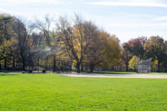Great lawn located in the heart of Central Park during the fall Stock Photography