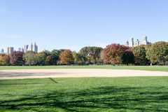Great lawn located in the heart of Central Park during the fall Stock Photo