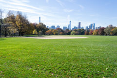 Great lawn located in the heart of Central Park during the fall Stock Images