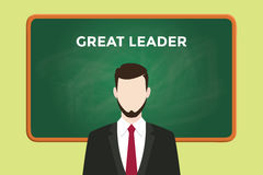 Great leader illustration with a man wearing a black suit in front of green chalk board and white text. Vector Royalty Free Stock Images