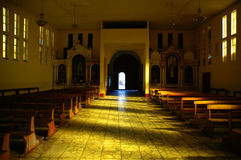 Great light into church in Huaraz Peru.  Royalty Free Stock Image