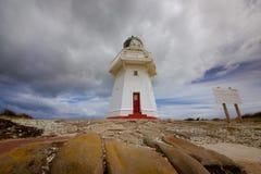 Great lighthouse of Waipapa Point Stock Photos