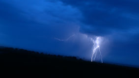 Great lightning in blue sky. At night Royalty Free Stock Image