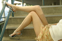Great lines 3. Short skirt, legs and heels Stock Photos