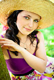Great look of the young girl wearing straw hat Royalty Free Stock Photography