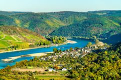 The great loop of the Rhine at Boppard in Germany. The great loop of the Rhine river at Boppard in Germany stock photos