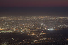 Great Los Angeles area night scape from top Royalty Free Stock Photo