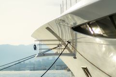 Luxury yacht, detail, northern Mediterranean royalty free stock photography