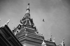 A great marble church ,Black and white picture style, Wat Sothorn, Chachoengsao Thailand Royalty Free Stock Images