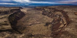 The Frenchman Coulee From A Drone. This is the great and massive Frenchman Coulee located in Grant County, Washington State Stock Photography