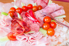 Great meat delicatessen plate Royalty Free Stock Photography