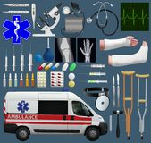 Great medical set. Wide variety of subjects, tools, medicines, ambulance, diagnostics and treatment. Realistic images. Vector illu. Stration Royalty Free Stock Photo