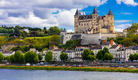 Great medieval castles of Loire valley - beautiful Saumur. Franc Stock Photo
