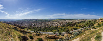 Great Medina. Panorama view of the Medina of Fez, Morocco, Africa Stock Images