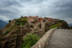 Great Meteoron Monastery. Beautiful scenic view, ancient traditional greek building on the top of huge stone pillar in Meteora Royalty Free Stock Image
