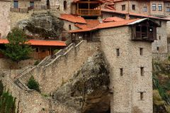 Great Meteoron Monastery. Beautiful scenic view, ancient traditional greek building on the top of huge stone pillar in Meteora Royalty Free Stock Photos