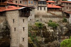 Great Meteoron Monastery. Beautiful scenic view, ancient traditional greek building on the top of huge stone pillar in Meteora Royalty Free Stock Photo