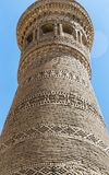 The Great Minaret decorated with the patterns made of bricks, Bukhara, Uzbekistan Stock Photo