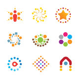 Great mind bending colorful creativity decoration interaction logo icon set Stock Image