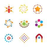 Great mind bending colorful creativity decoration interaction logo icon set stock illustration