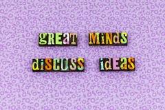 Great mind ideas communication success letterpress stock photos