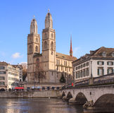 Great Minster. Zurich, Switzerland: the Great Minster, late autumn Stock Image