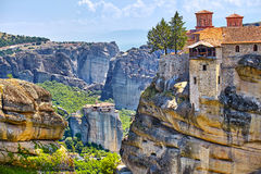 Great Monastery of Varlaam on the high rock in Meteora, Thessaly Stock Images
