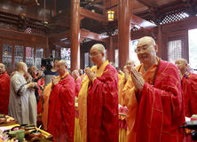 Great monks shixuecheng (middle) shiyuanzong(left) and shishenghui praying Stock Photos