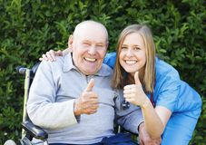Great Mood at the Nursing Home Stock Images