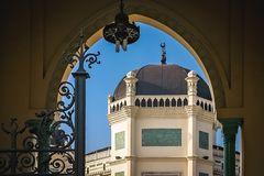 Great Mosque of Al-Mashun in Medan. Entrance to the Great Mosque of Al-Mashun in Medan, Sumatra, Indonesia Stock Photo