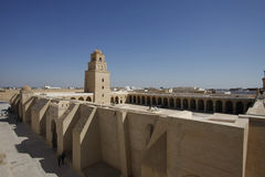 The Great Mosque of Kairouan. Also known as the Mosque of Uqba, is one of the most important mosques in Tunisia, situated in the UNESCO World Heritage town of Royalty Free Stock Image