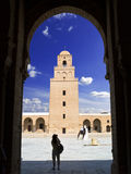 Great mosque of Kairwan. Courtyard and minaret from the Great mosque of Kairouan, Tunisia Stock Images
