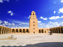 Great mosque of Kairwan. Courtyard and minaret from the Great mosque of Kairouan, Tunisia Stock Photography