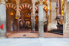 Great Mosque Mezquita interior in Cordoba Spain. Religion architecture background Royalty Free Stock Photo
