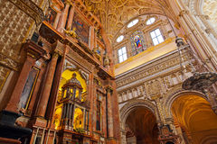 Great Mosque Mezquita interior in Cordoba Spain. Religion architecture background Royalty Free Stock Photography