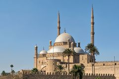 The great Mosque of Muhammad Ali Pasha Alabaster Mosque, situated in the Citadel of Cairo, Egypt. Commissioned by Muhammad Ali Pasha 1830 - 1848, one of the stock images