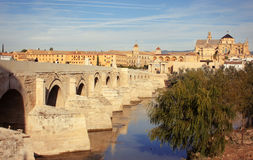 Great Mosque, Roman Bridge and Guadalquivir river, Cordoba, Spain Stock Photos