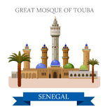 Great Mosque of Touba in Senegal. Flat vector illu royalty free illustration