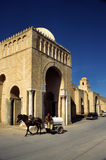 Great mosque Tunisia. Horse cart with water tank outside Great Okba mosque, Kairouan, Tunisia Stock Photo