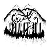 Great mountain. Hand drawn logo. Stock Photo