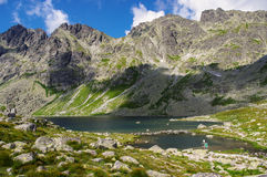 Great mountain peaks above the lake in the High Tatras. Slovakia Stock Image
