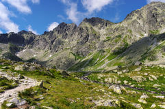 Great mountain peaks above the valley. High Tatras. Slovakia Royalty Free Stock Photography
