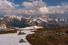 Great mountain peaks in spring landscape. Tatry.  royalty free stock images