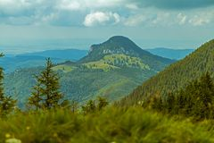 Great mountain scenery. Mountain scenery depicting a valley in romania transylvania region Royalty Free Stock Image