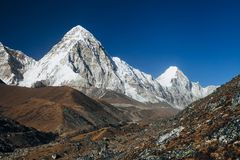 Himalayas. Great mountain views of Himalayas in Nepal trekking on the way to Everest base camp Stock Images