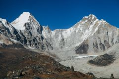 Himalayas. Great mountain views of Himalayas in Nepal trekking on the way to Everest base camp Stock Image