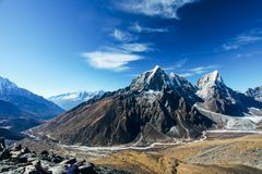 Himalayas. Great mountain views of Himalayas in Nepal trekking on the way to Everest base camp Stock Photo
