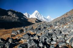 Himalayas. Great mountain views of Himalayas in Nepal trekking on the way to Everest base camp Royalty Free Stock Photo