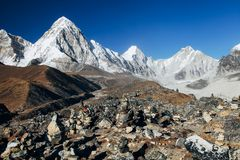Himalayas. Great mountain views of Himalayas in Nepal trekking on the way to Everest base camp Stock Photos