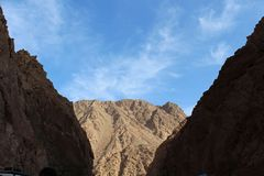 Great mountains against the sky in Egypt. Royalty Free Stock Photo